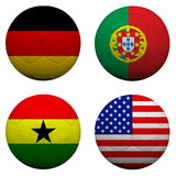 3D soccer balls with group G teams. Flags, Football Brazil 2014. isolated on white Stock Photo