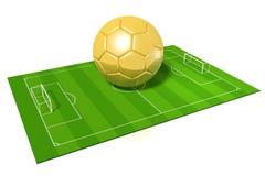 3D golden soccer ball/ football. 3D soccer field and golden soccer ball - isolated on white background - great for topics like championship, winner etc Stock Image