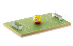 3d Soccer field and Spain ball. Stock Photo