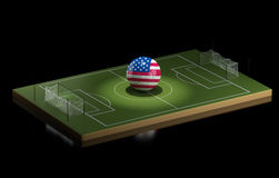 3d Soccer field and United States ball. Stock Photo