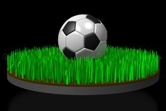 3D soccer/ football concept. 3D soccer ball and soccer field, black background - great for topics like match etc Stock Photos