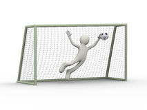 3d soccer football goal keeper making diving save Royalty Free Stock Photo