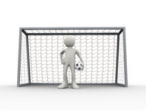 3d soccer football goalkeeper standing in goal with ball. 3d illustration of football soccer goal keeper in gate holding ball. 3d human person character and Royalty Free Stock Image