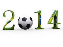 3d Soccer world cup in 2014 with football.  Royalty Free Stock Photography