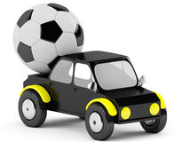 3D socer ball in a black car Stock Photography