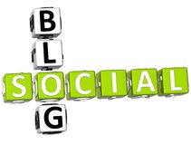 3D Social Blog Crossword. On white background Stock Images