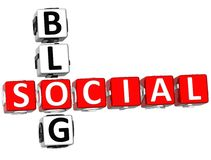 3D Social Blog Crossword. On white background Stock Photo