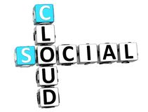 3D Social Cloud Crossword. On white background Stock Photo