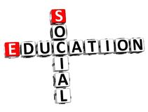 3D Social Education Crossword Stock Images