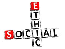3D Social Ethic Crossword Stock Photography