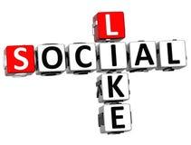 3D Social Like Crossword Stock Image