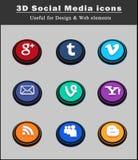 3d social media icons 2 Stock Photo