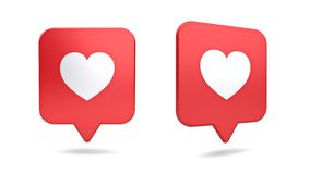 3d social media notification love like heart icon in red rounded square pin isolated on white background royalty free stock images