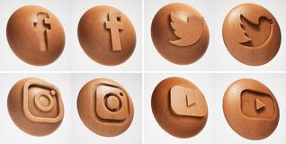 3D Social media wood texture icon royalty free illustration