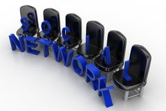 3d Social network with chair illustration Stock Images