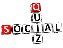 3D Social Quiz Crossword Stock Photos