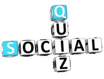 3D Social Quiz Crossword Stock Image