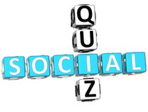 3D Social Quiz Crossword. On white background Stock Photos