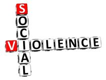 3D Social Violence Crossword. On white background Stock Photos
