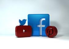 3D Sociale media pictogrammen Royalty-vrije Stock Foto's