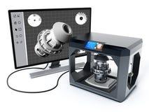3D software van het productontwerp en 3D printer 3D Illustratie Stock Afbeeldingen