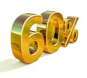 3d or 60 soixante signes de remise de pour cent illustration stock