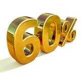 3d or 60 soixante signes de remise de pour cent illustration libre de droits