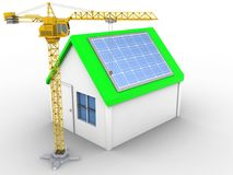 3d solar panel. 3d illustration of simple house over white background with solar panel and crane Royalty Free Stock Images