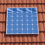 3d Solar panel on roof Stock Photo