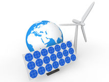 3d solar panel wind mill and earth globe Royalty Free Stock Image