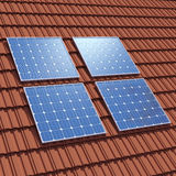 3d Solar panels on rooftop Stock Image