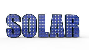 3d solar word with solar panel texture Stock Image