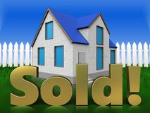 3d sold sign over grass and fence Stock Photo
