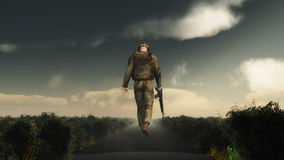 3D soldier walking with his head down Stock Photo