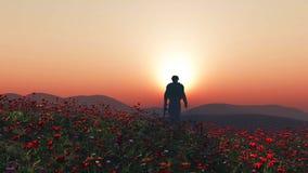 3D soldier walking in a poppy field vector illustration