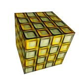 3D patterned cube. 3D solid patterned cube / box Royalty Free Stock Images