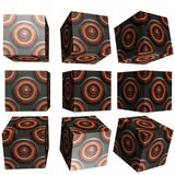 3D patterned cube. 3D solid patterned cube / box Royalty Free Stock Photo
