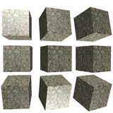 3D patterned cube. 3D solid patterned cube / box Stock Photo