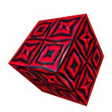 3D patterned cube. 3D solid patterned cube / box Stock Photos