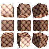 3D patterned cubes. 3D solid patterned cubes with criss cross material pattern Royalty Free Stock Photography