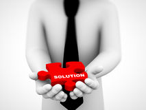 3d solution puzzle piece illustration. 3d rendering of closeup of human hands holding solution red puzzle piece. concept of solution for problem Royalty Free Stock Image