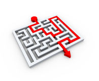 3d solved puzzle labyrinth maze Royalty Free Stock Photo