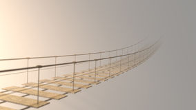 3D som är luddig på den hängande bron som försvinner i dimma Royaltyfri Foto
