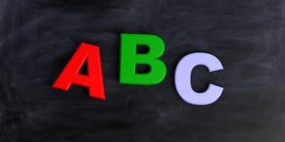 3d som framför abc-bokstäver på svart bakgrund Royaltyfri Bild