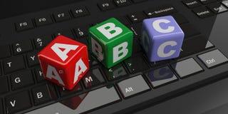 3d som framför abc-kuber på ett svart tangentbord Fotografering för Bildbyråer
