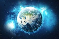 3D som framför bakgrund för globalt nätverk Anslutning fodrar med Dots Around Earth Globe Global internationell uppkopplingsmöjli Arkivfoton