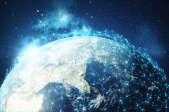 3D som framför bakgrund för globalt nätverk Anslutning fodrar med Dots Around Earth Globe Global internationell uppkopplingsmöjli Royaltyfri Bild