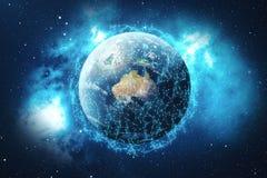 3D som framför bakgrund för globalt nätverk Anslutning fodrar med Dots Around Earth Globe Global internationell uppkopplingsmöjli Arkivfoto