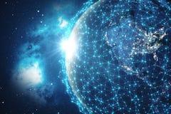 3D som framför bakgrund för globalt nätverk Anslutning fodrar med Dots Around Earth Globe Global internationell uppkopplingsmöjli Arkivbild