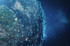 3D som framför bakgrund för globalt nätverk Anslutning fodrar med Dots Around Earth Globe Global internationell uppkopplingsmöjli Royaltyfri Foto